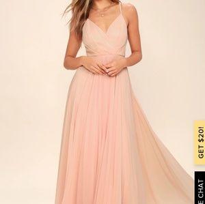 Lulu's blush pink bridesmaid dress